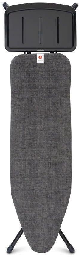 Brabantia - deska do prasowania rozmiar 124 x 38 cm, rama czarna 25 mm - podstawa na generator pary - denim black