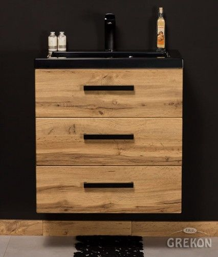 Szafka łazienkowa kolor dąb 60cm z umywalką dolomitową, 3 szuflady, Styl Loftowy, Gante Fokus Loft