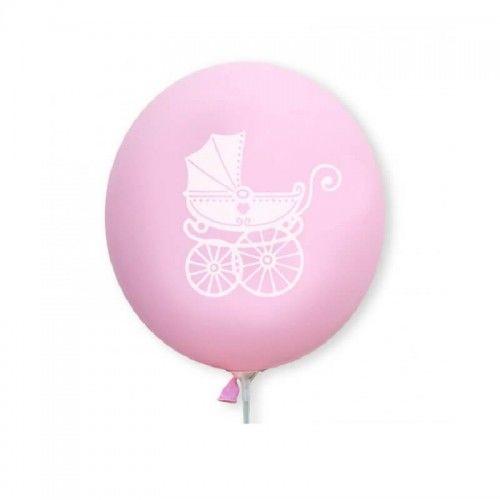Balony różowe z białym wózeczkiem, 10 szt.