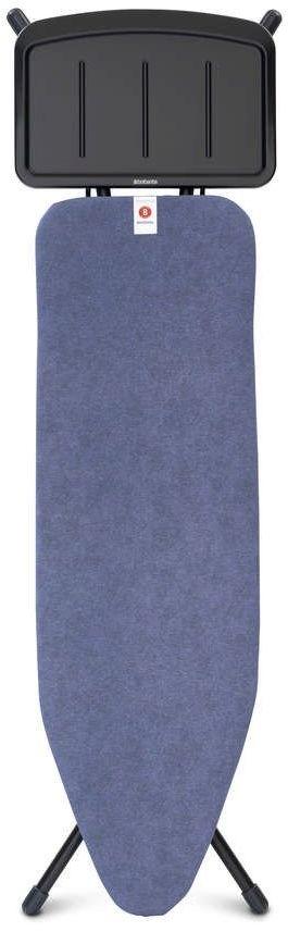 Brabantia - deska do prasowania rozmiar 124 x 38 cm, rama czarna 25 mm - podstawa na generator pary - denim blue