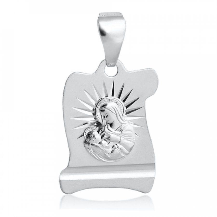 Srebrny Medalik 925 Matka Boska Grawer