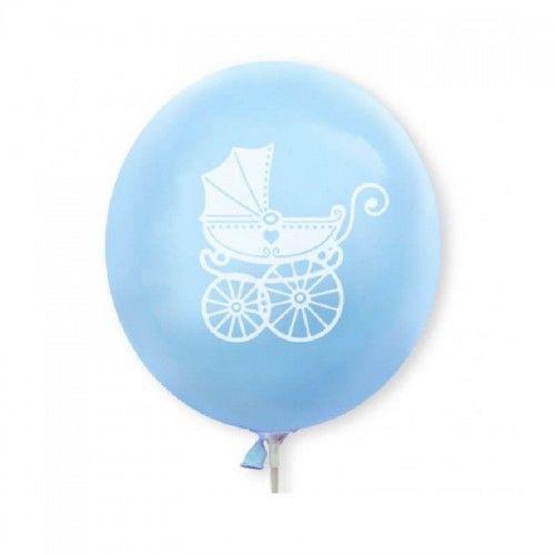 Balony niebieskie z białym wózeczkiem, 10 szt.