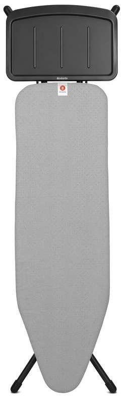 Brabantia - deska do prasowania rozmiar 124 x 38 cm, rama czarna 25 mm - podstawa na generator pary - metalized