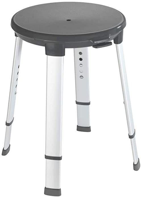 WENKO Secura Premium obrotowy taboret łazienkowy, udźwig do 130 kg, 50 x 43-53 x 50 cm, antracyt