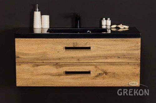 Szafka łazienkowa kolor dąb 100cm z umywalką dolomitową, Styl Loftowy, Gante Fokus Loft