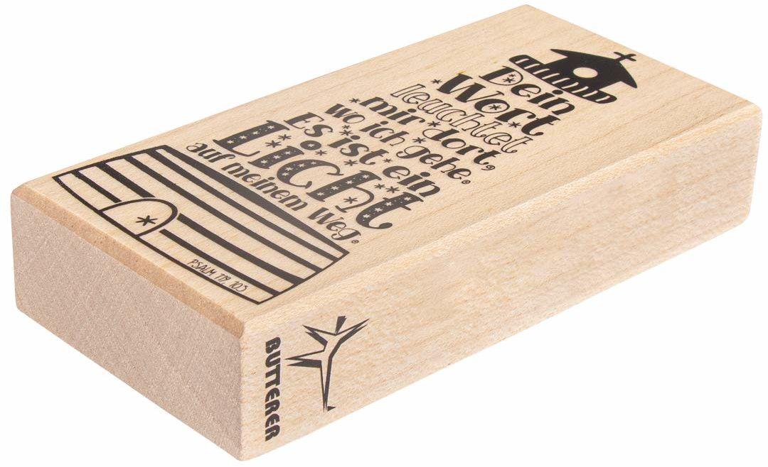 Rayher Hobby 29116000 drewniana pieczątka z latarnią morską, 5 x 10 cm, pieczątka z tekstem na zaproszenia na ślub, chrzest, komunię, bierzmowanie, pieczęć z napisem Butterera