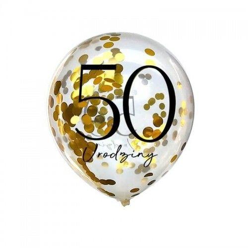 Balony przeźroczyste ze złotym konfetti na 50 urodziny, 10 szt.