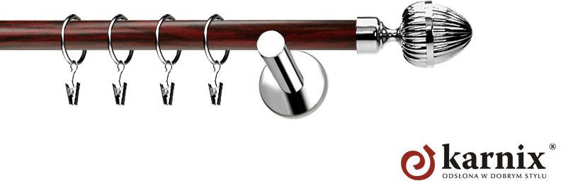 Karnisze Nowoczesne NEO Prestige pojedynczy 19mm Milano INOX - mahoń