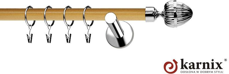 Karnisze Nowoczesne NEO Prestige pojedynczy 19mm Milano INOX - pinia