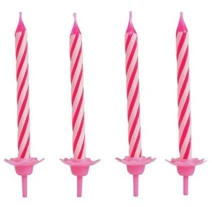 Świeczki urodzinowe - różowe - 24 szt.