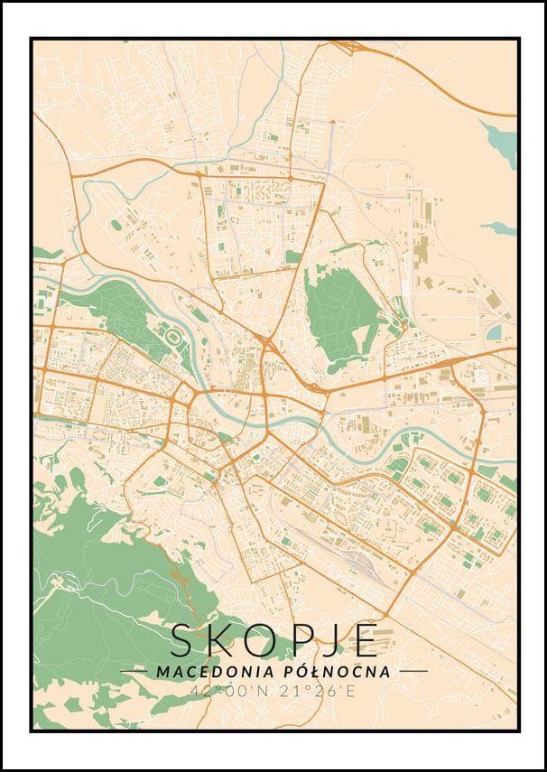 Skopje mapa kolorowa - plakat wymiar do wyboru: 40x60 cm