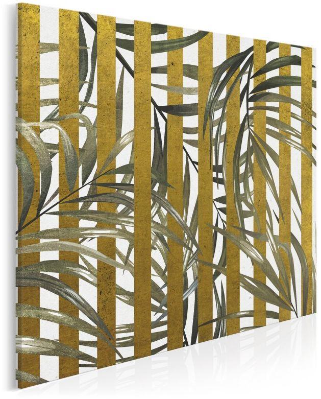 Złoty azyl - nowoczesny obraz do sypialni - 80x80 cm