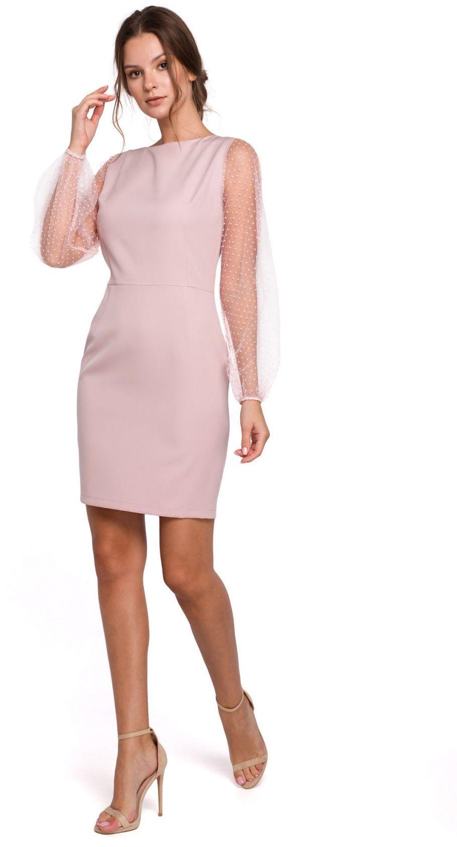 K032 Sukienka z bufiastymi rękawami w groszki - pudrowa