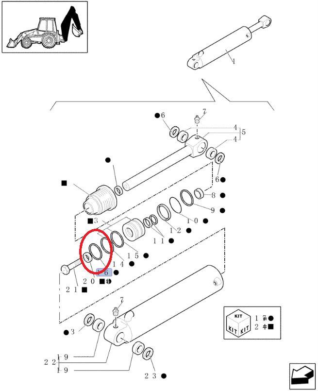 Pierścień tłokowy siłownika CASE CNH 85800823