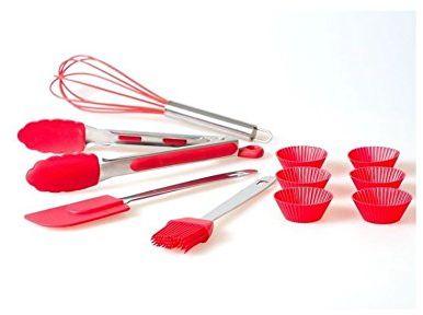JOCCA Zestaw przyborów kuchennych, silikon, czerwony, 31,80 x 16 x 6 cm