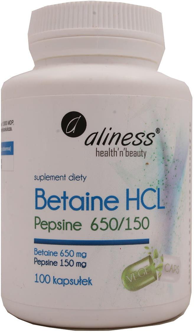 Betaine HCL Pepsine 650/150mg 100kaps Aliness