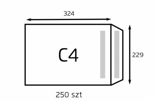 Koperta C4 biała samoklejąca (op. 250 szt.) SK (B-KOP-C4 Biała SK / 250)