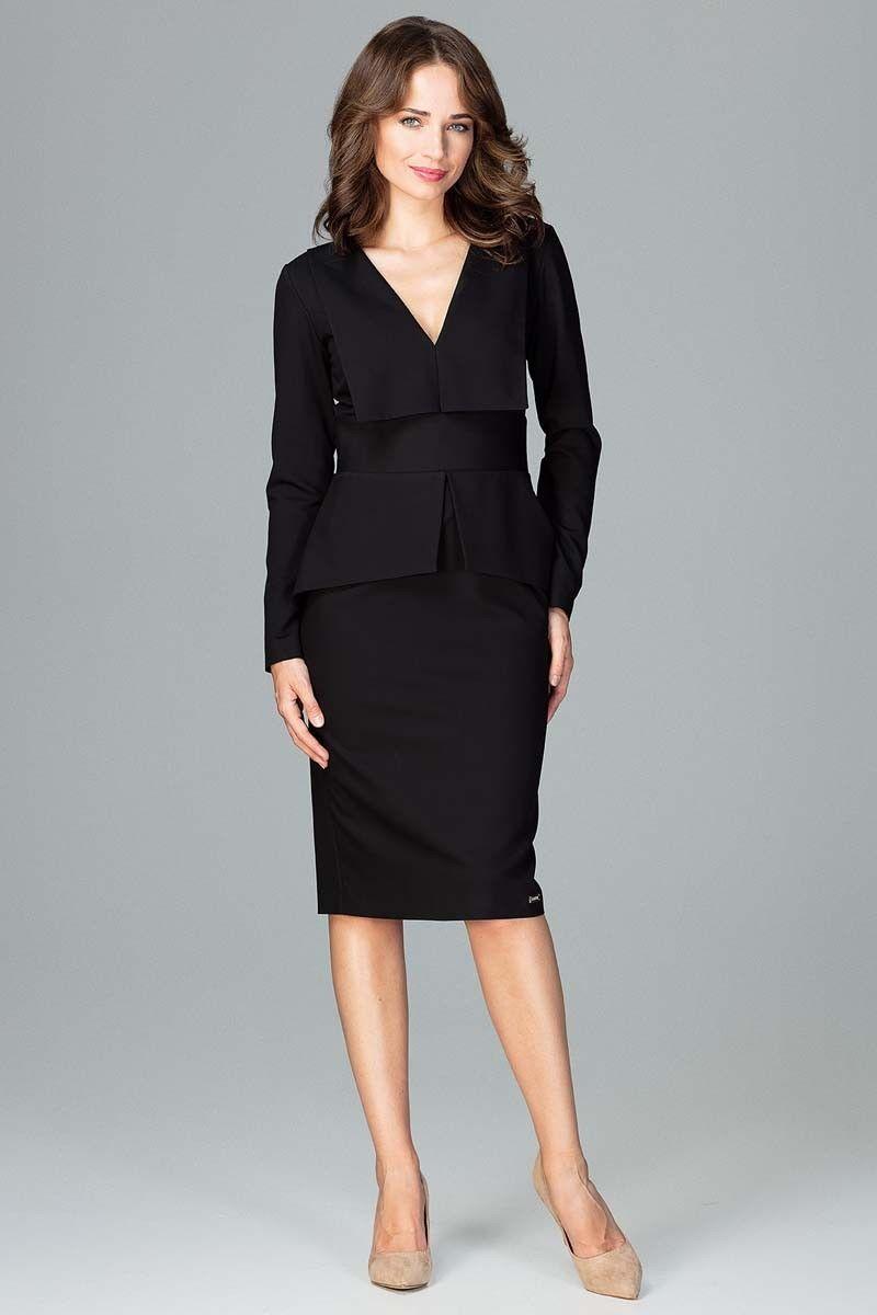 Czarna wizytowa sukienka z asymetryczna baskinką