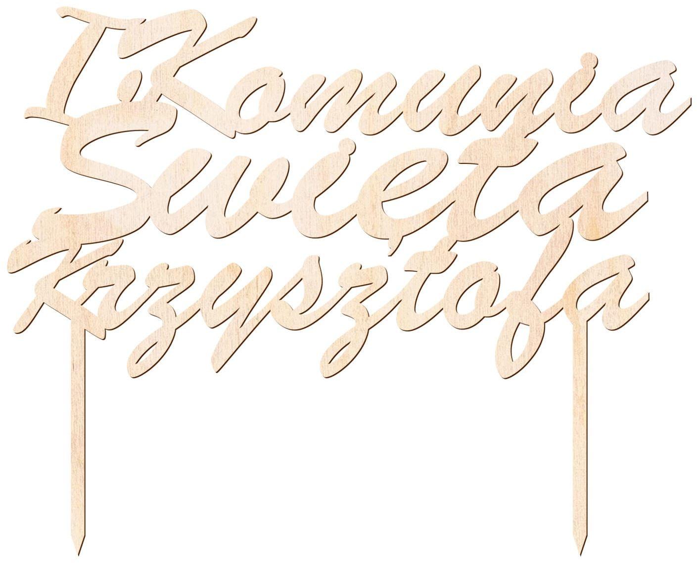Topper drewniany personalizowany na tort I Komunia Święta - 1 szt.