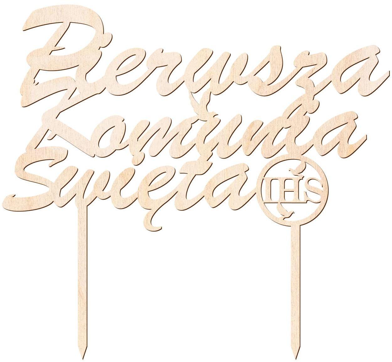 Topper drewniany na tort Pierwsza Komunia Święta - 1 szt.