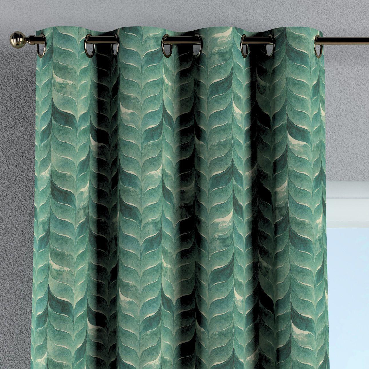 Zasłona na kółkach 1 szt., szmaragdowo-zielony wzór na lnianym tle, 1szt 130  260 cm, Abigail