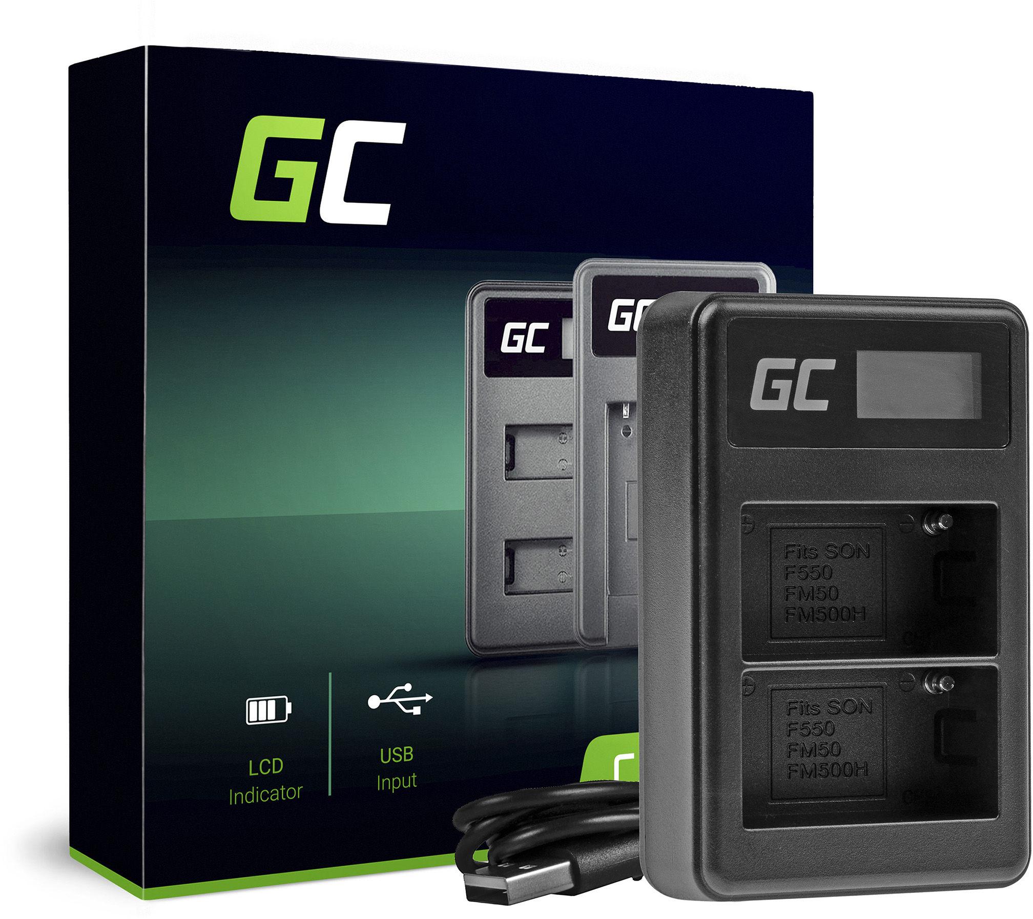 Podwójna ładowarka BC-V615 AC-VL1 Green Cell  do Sony NP-FM500H, A58 A57 A65 A77 A99 A900 A700 A580 A560 A550 A850 SLT A99 II