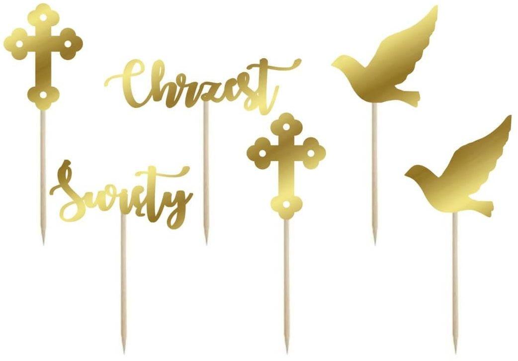 Dekoracje do muffinek Chrzest Święty złote - 6 szt.