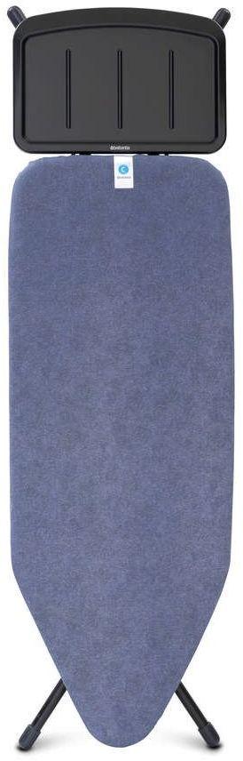 Brabantia - deska do prasowania rozmiar 124 x 45 cm, rama czarna 25 mm - podstawa na generator pary - denim blue