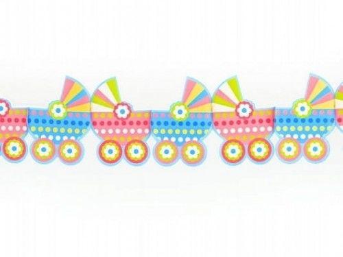Girlanda Dziecięce wózeczki, niebieskie i różowe