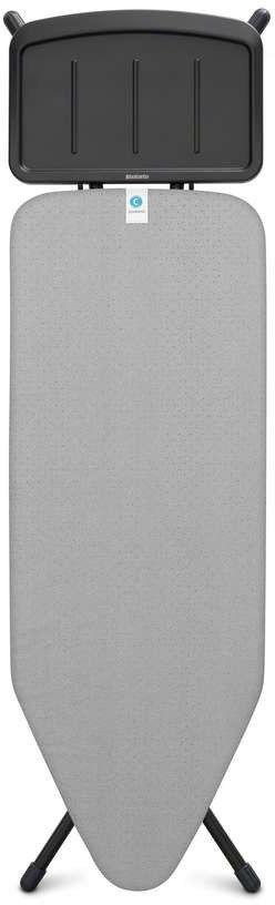 Brabantia - deska do prasowania rozmiar 124 x 45 cm, rama czarna 25 mm - podstawa na generator pary - metalized
