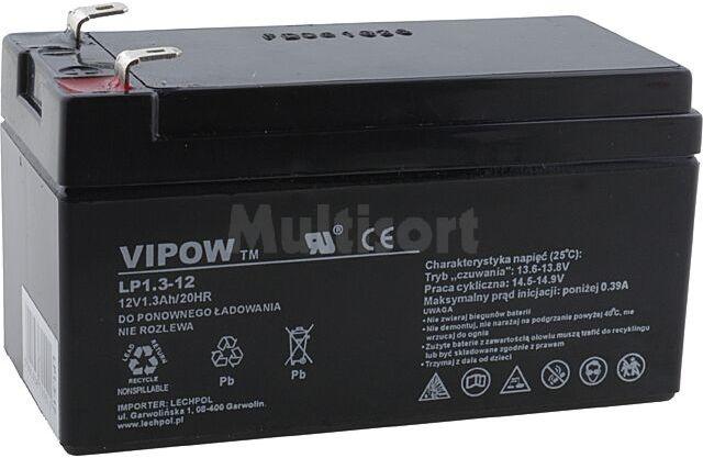 Akumulator kwasowo-ołowiowy VIPOW 12V 1,3Ah żywotność 5 lat
