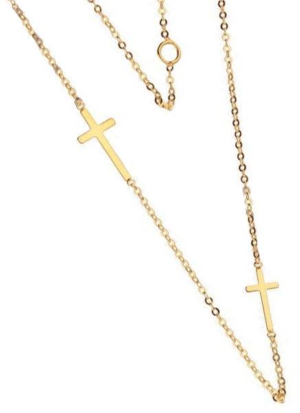 Złoty naszyjnik 333 łańcuszek z krzyżykami 0,72 g