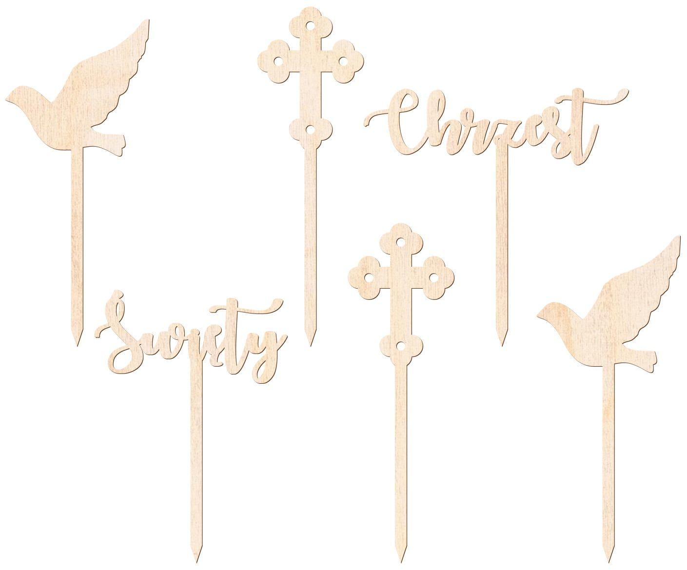 Dekoracje drewniane do muffinek Chrzest Święty - 6 szt.