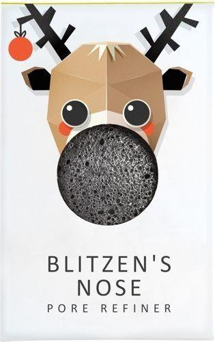 Konjac Sponge Gąbka Mini Renifer Blitzen Błyskawica z czarnym węglem bambusowym do cery tłustej i problematycznej