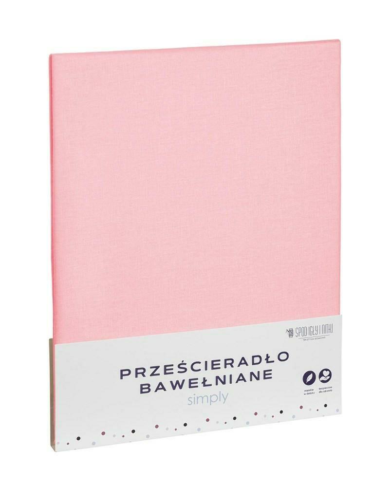 Prześcieradło bawełniane 220x200 różowe pudrowe jednobarwne Simply
