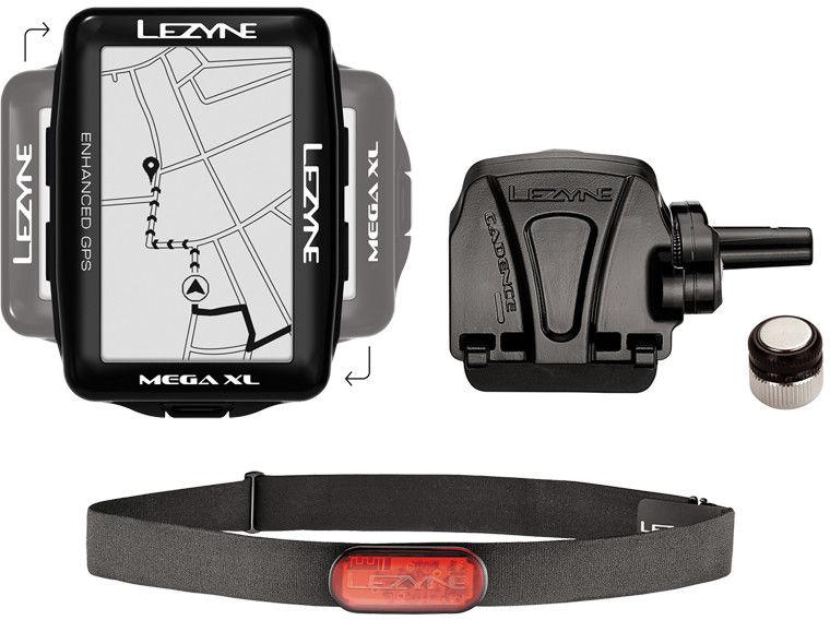 Licznik rowerowy LEZYNE MEGA XL GPS HRSC Loaded w zestawie opaska na serce + czujnik prędkości/kadencji
