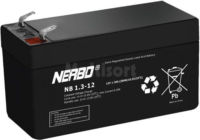 Akumulator kwasowo-ołowiowy NERBO 12V 1,3Ah żywotność 5 lat