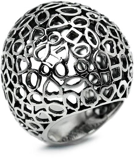 Staviori pierścionek srebrny 0,925 duży zdobiony sercami, trójkatami, kwadratami