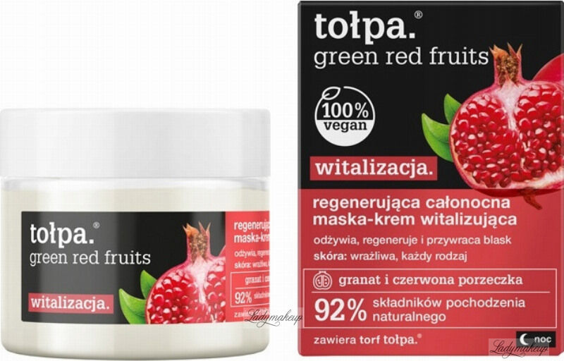 Tołpa - Green Red Fruits - Regenerująca całonocna maska krem do twarzy - 50 ml