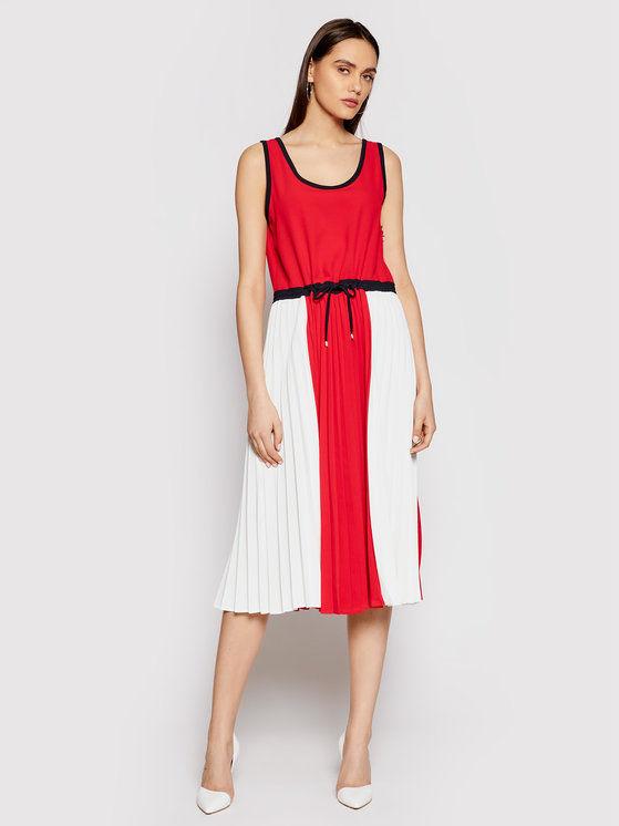 Tommy Hilfiger Sukienka codzienna Twill F&F Pleated WW0WW30643 Czerwony Regular Fit