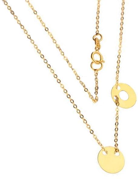 Złoty naszyjnik 333 celebrytka kółko ring 1 g