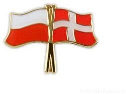 Flaga Polska - Dania, przypinka
