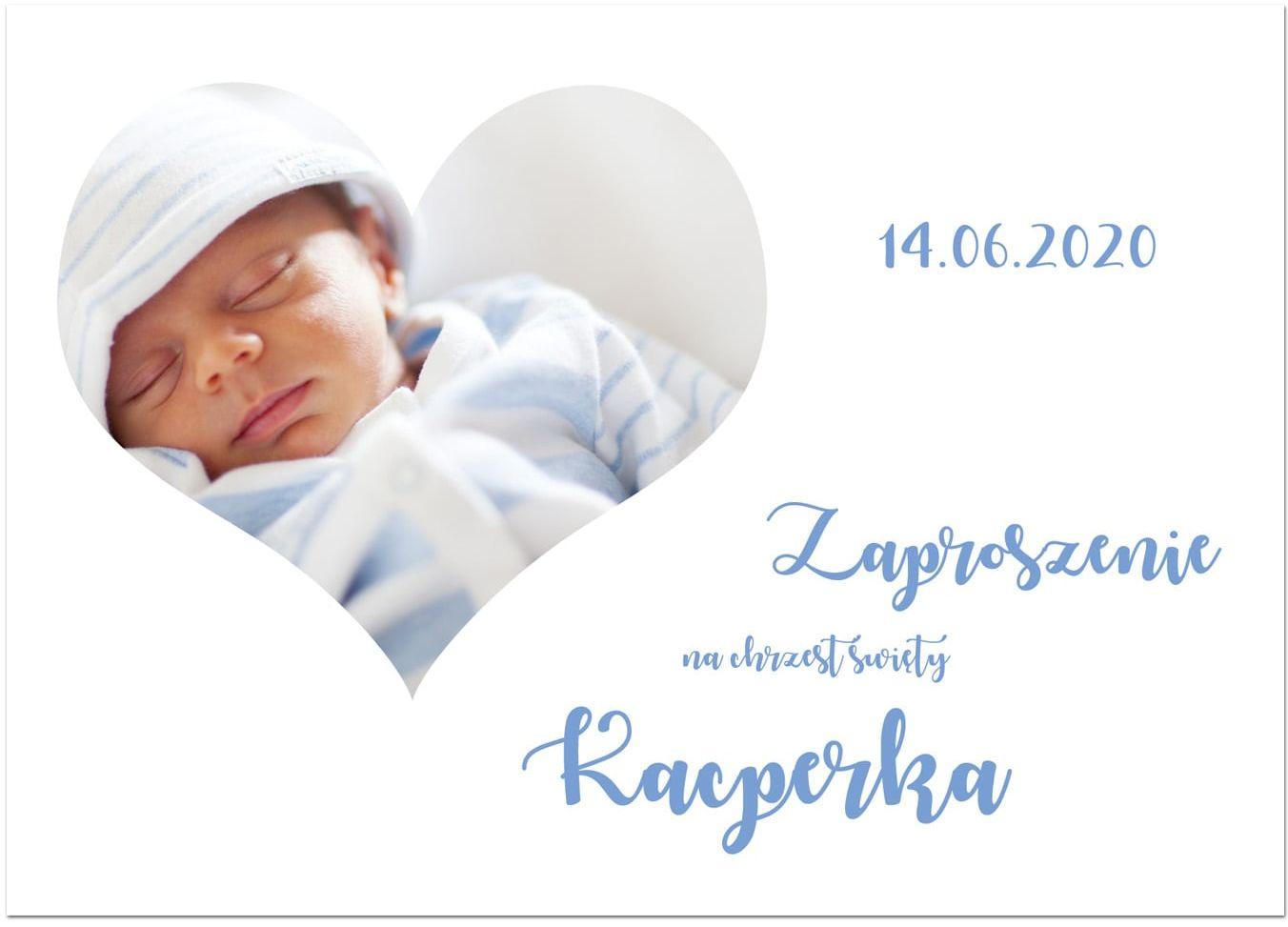Zaproszenia personalizowane z sercem na chrzest chłopca - 8 szt.
