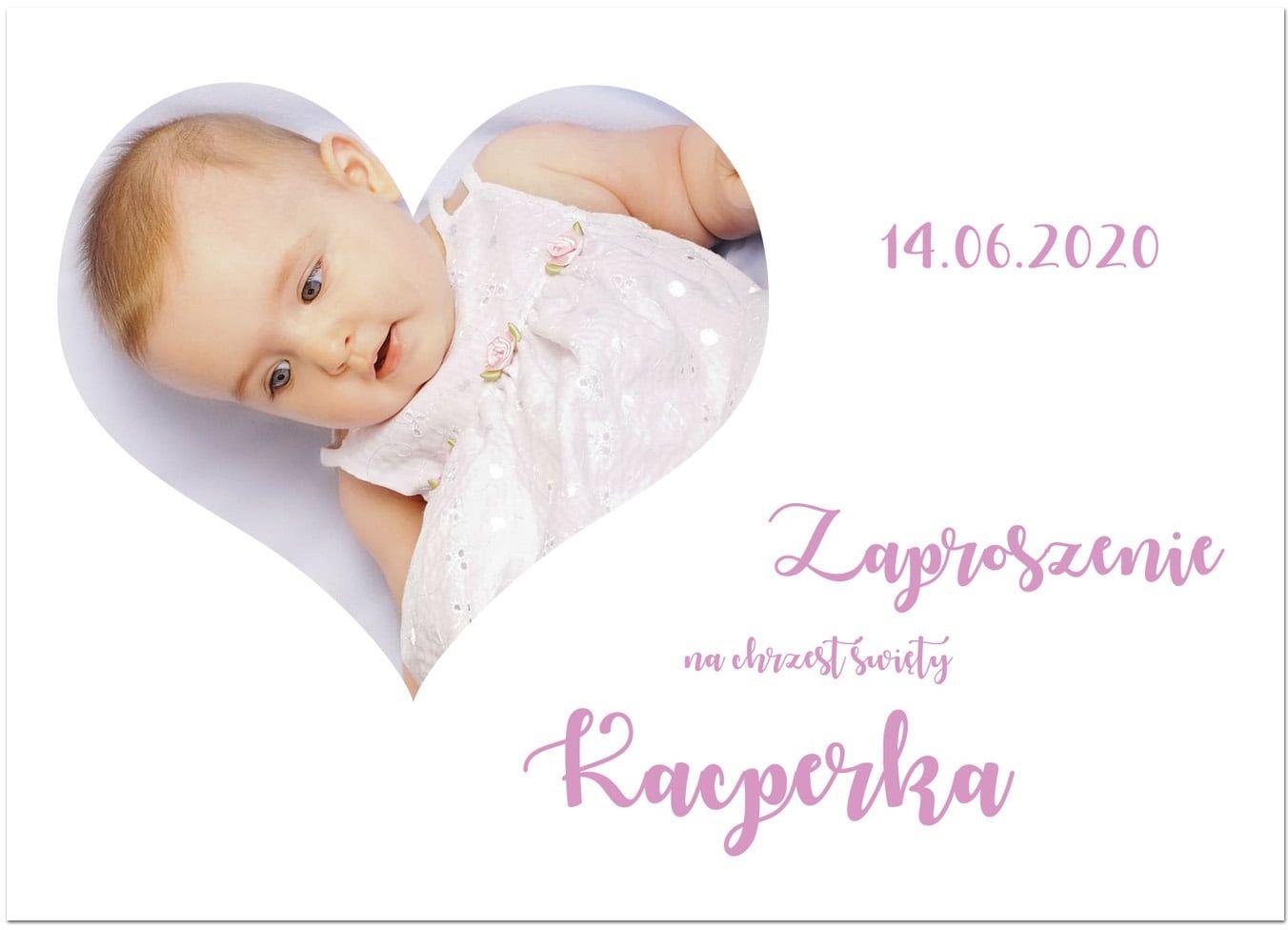 Zaproszenia personalizowane z sercem na chrzest dziewczynki - 8 szt.