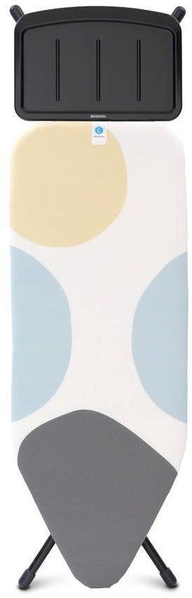 Brabantia - deska do prasowania rozmiar 124 x 45 cm, rama czarna 25 mm - podstawa na generator pary - pefectflow - spring bubbles