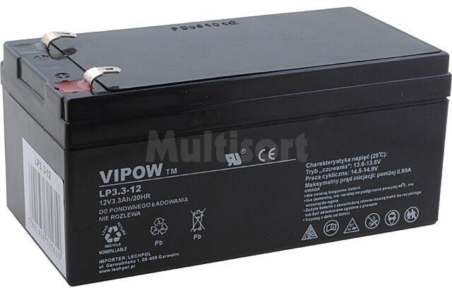 Akumulator kwasowo-ołowiowy VIPOW 12V 3,3Ah żywotność 5 lat