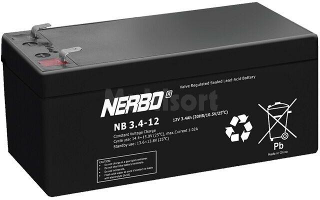 Akumulator kwasowo-ołowiowy NERBO 12V 3,4Ah żywotność 5 lat
