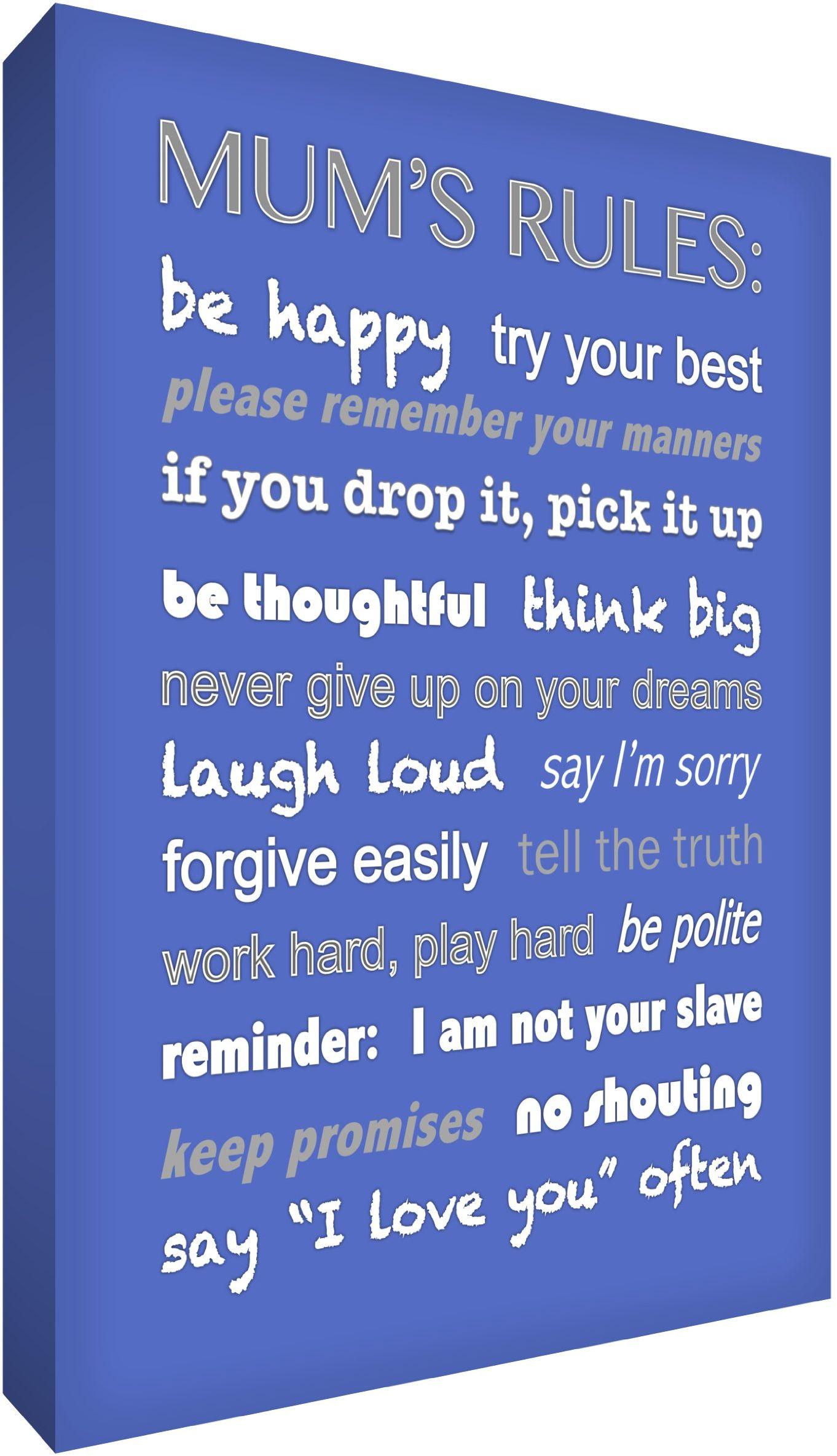 Feel Good Art 30 x 20 cm A4 nowoczesna typograficzna zasady mamy grube pudełko płótno, niebieskie