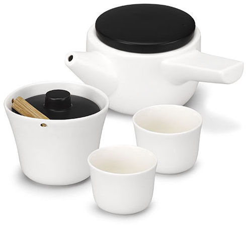 Zestaw do herbaty (biało-czarny) Evo-Song PO: