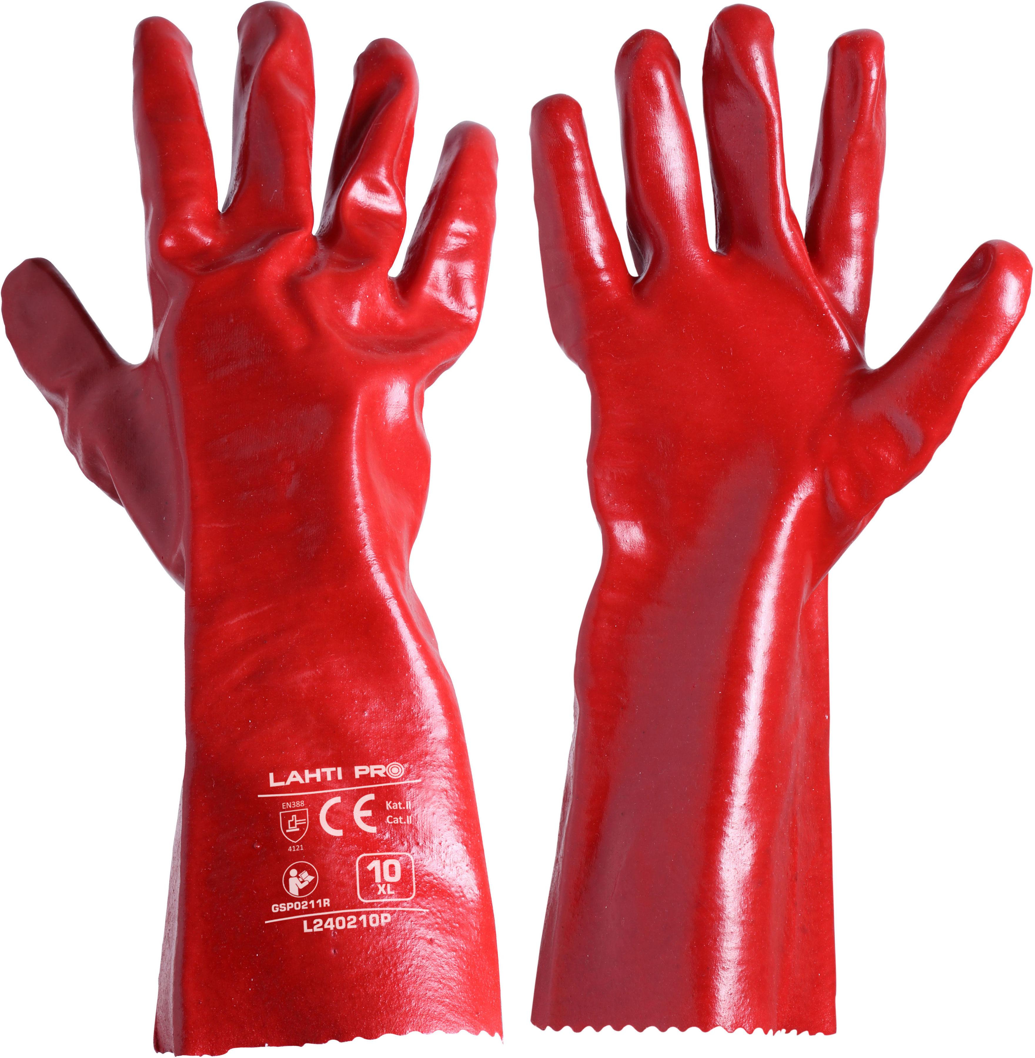 """Rękawice pvc długie czerw. l240210p, 12 par, """"10"""", ce, lahti"""